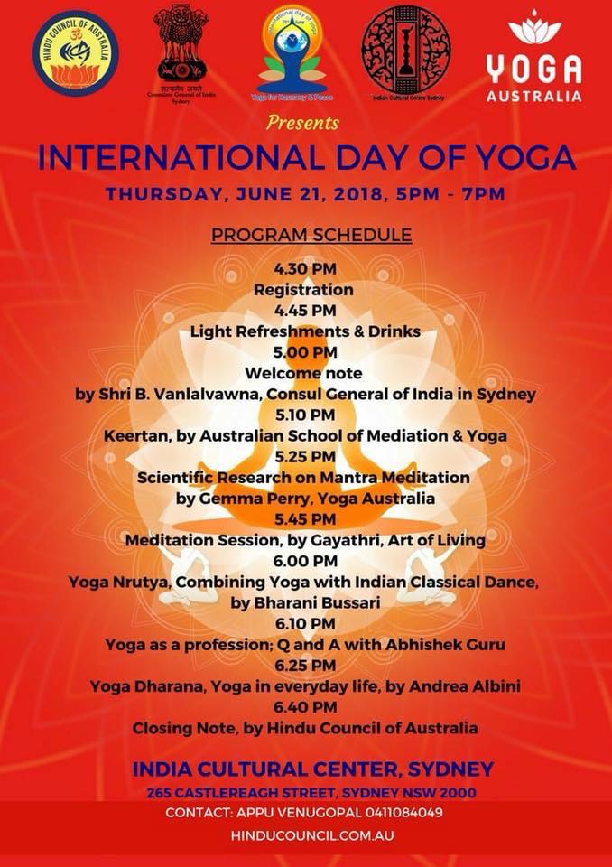 International Yoga Day - Sydney - 2018